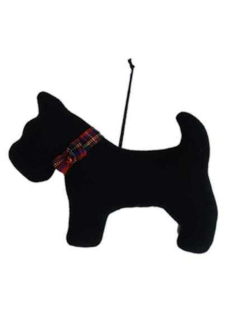 Faux Wool Scottie Christmas Ornament Black