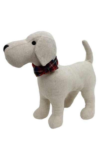 11 Inch  Linen Terrier Dog With Plaid Collar Natural