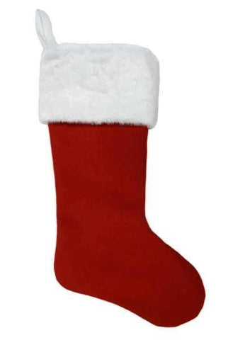 Faux Wool Christmas Stocking With White Fur Cuff Red