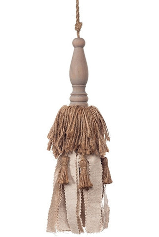 Large Tassel Jute, Linen Wood Top