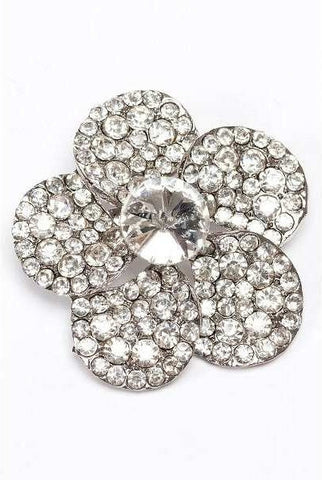 Acrylic Crystal Small Pippa Brooch, Clear/Silver