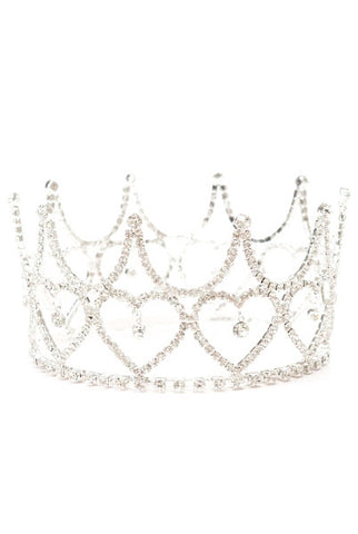 Queen Of Hearts Crystal Crown Ornament, Silver