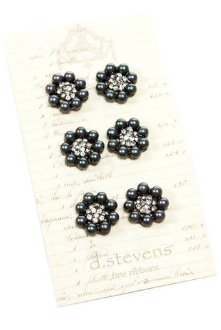 Vintage Style Pearl Buttons, Black Pearl ,Crystal, 6 Buttons Per Card