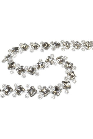 Princess Cut Crystal Glass, Garland Embellished With Smaller Jewels, Gold Base, Clear