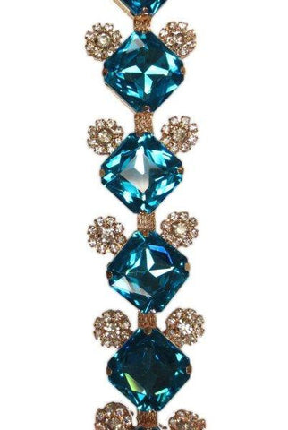 Princess Cut Crystal Glass, Embellished With Smaller Clear Jewels, Gold Base, Teal