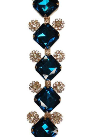 Princess Cut Crystal Glass, Garland Embellished With Smaller Clear Jewels, Gold Base, Blue