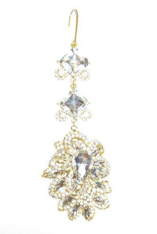 Princess Cut And Pear Shape Crystals  Christmas Ornament. Clear/Gold