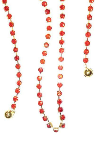 Large Single Crystal Garland With Bells, Light Red With Gold Base.