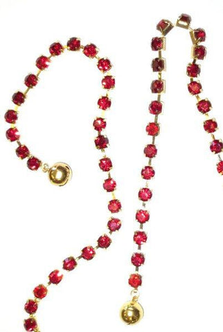 Large Single Crystal Garland With Bells, Dark Red With Gold Base.
