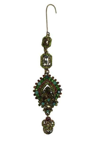 Gold Base, Emerald/Pear Shaped Ornate Jeweled Ornament, Gold/Topaz/Peridot/Citrine/Aquamarine