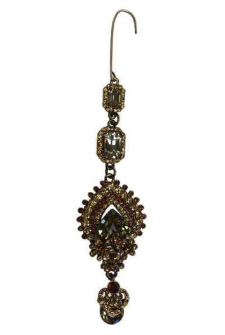 Gold Base, Emerald/Pear Shaped Ornate Jeweled Ornament, Gold/Topaz/Citrine