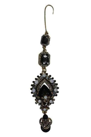 Gold Base, Emerald/Pear Shaped Ornate Jeweled Ornament, Gold/Black/Smokey/Crystal/Milky Quartz