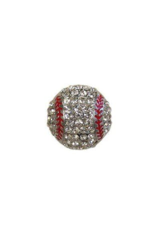 Diameter Baseball Brooch, Silver Base,Clear,Red