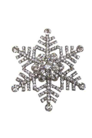 Snowflake Brooch , Silver Base,Clear