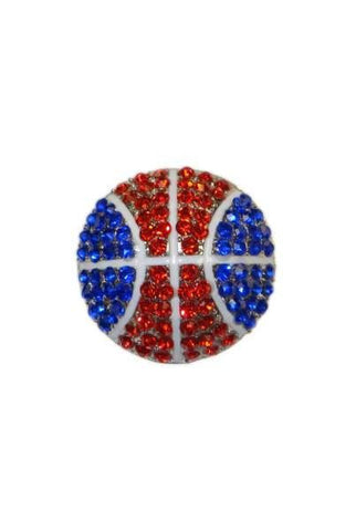 Diameter Basketball Brooch, Silver Base/Red/White/Royal Blue