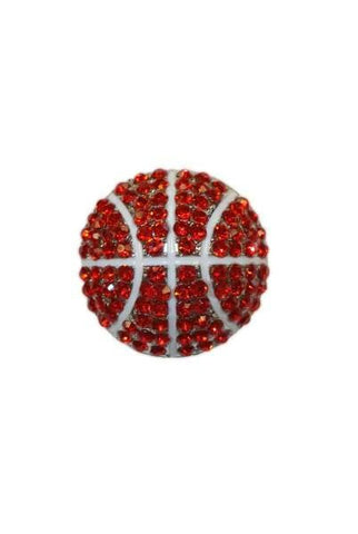 Diameter Basketball Brooch, Silver Base/Red/White