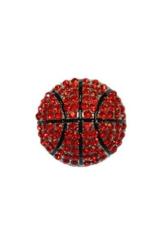 Diameter Basketball Brooch, Silver Base/Red/Black