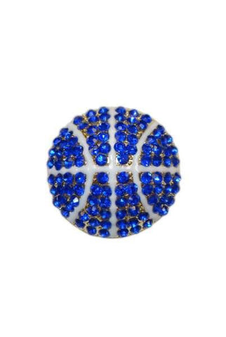 Diameter Basketball Brooch, Gold Base/Royal Blue/White