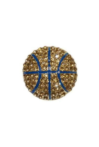 Diameter Basketball Brooch, Gold Base/Gold/Blue
