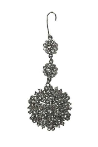Flower Medallion Ornament Clear Silver