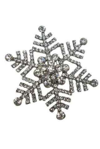 Snowflake With Clip Crystal Silver