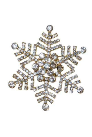 Snowflake Brooch Clear Gold