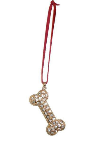 Crystal Dog Bone Ornament W Hanger Clear Gold