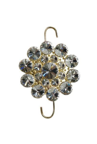 Crystal Button Ornament Hook Silver Gold Base
