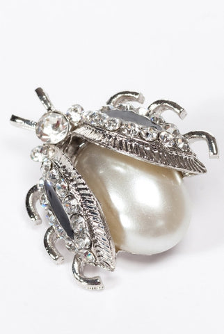 Lady Bug Brooch. Pearl/Crystal