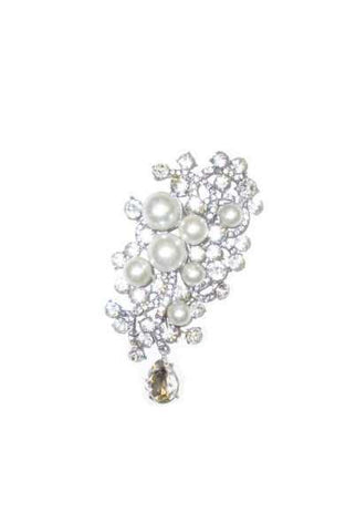 4 Inch Glass Crystal Jacqueline Brooch Clear Silver