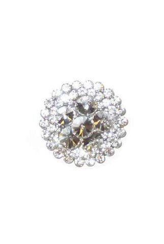 2 Inch  Glass Crystal Florence Brooch Clear Silver