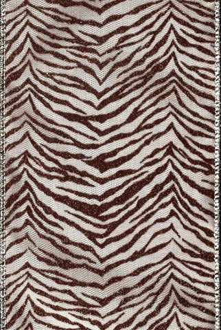 Flocked,Glitter Tiger Stripe, Taupe,Brown