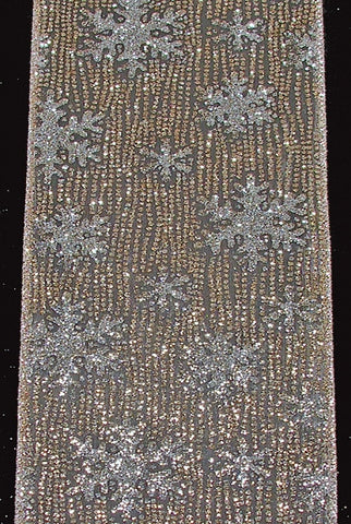 Sheer Glitter Snowflakes, Taupe,Platinum