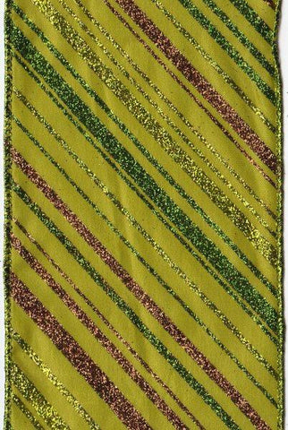 Multi Glitter Stripes Taffeta, Green
