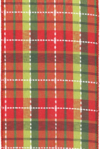 White Stitched Plaid, Light Green/Red