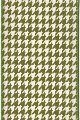 Brushed Cotton Houndstooth, Green,Ivory