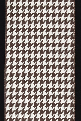 Brushed Cotton Houndstooth, Brown,Ivory