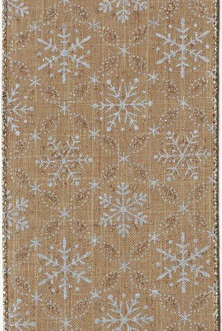 Linen Glitter Snowflakes, Natural Silver