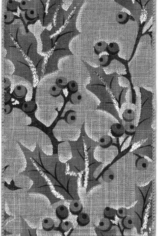 Linen Holly Design, Grey Natural