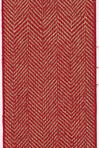 Linen Gold Herringbone, Red