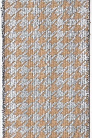 Hopsack Metallic Houndstooth, Natural Silver