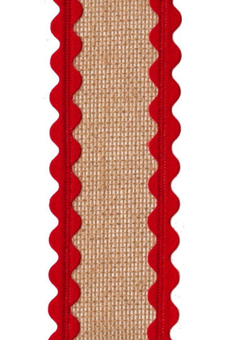 Burlap Red Rick Rack Edge, Natural