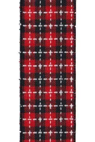 Plaid, White Stitching, Red/Black/White