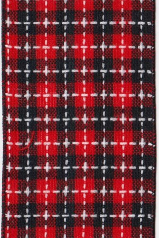Plaid Black/White Stitching, Red