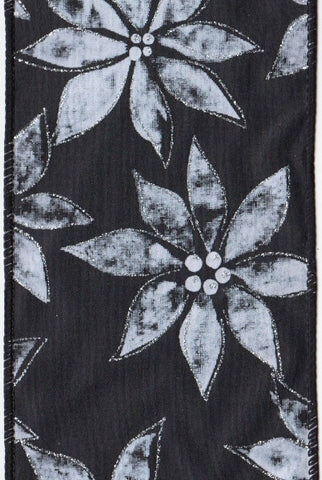 Satin Chalkboard White Poinsettias, Black