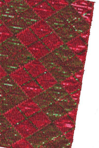 Sequin Plaid Table Runner, Red/Green