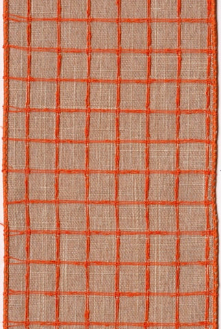 Linen Orange Stitched Squares, Natural