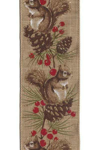Linen Squirrel Glitter Brancles, Brown/Red/Light Brown