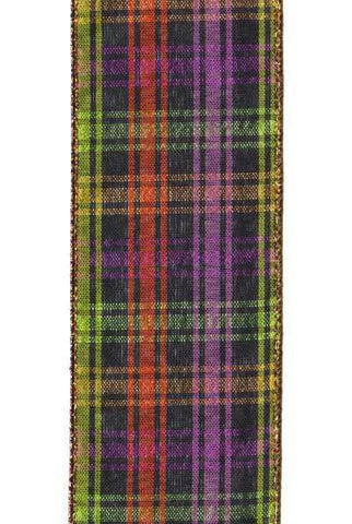 Faux Linen Plaid, Orange/Purple/Black