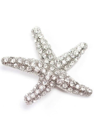 Starfish Brooch, Clear,Silver